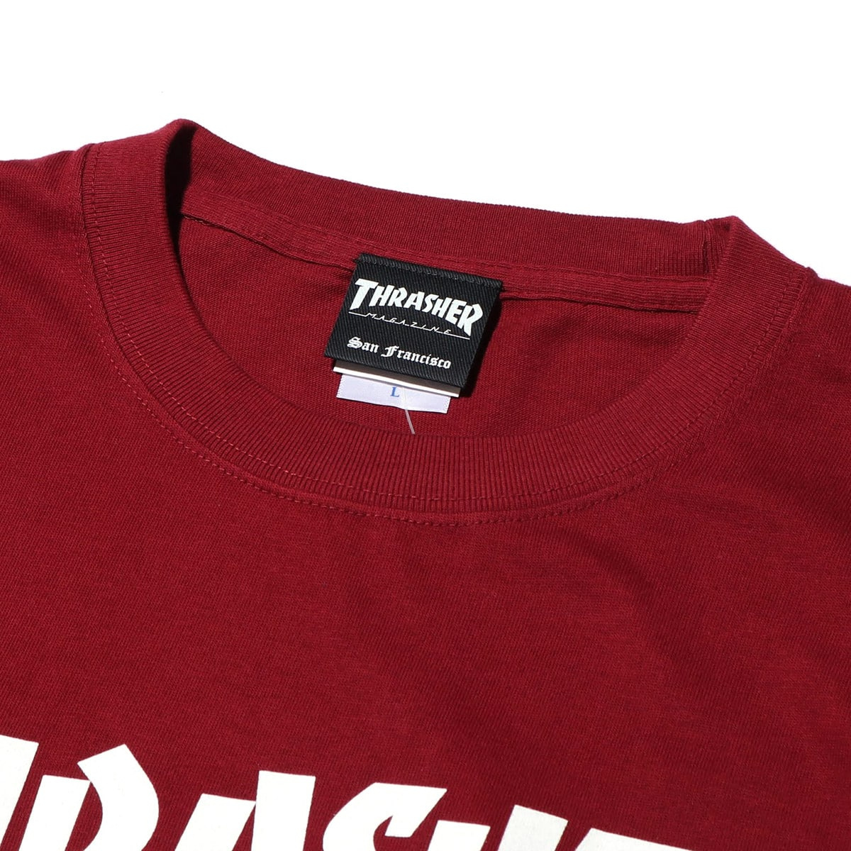 """THRASHER MAG LOGO S/S TEE BURGUNDY/WHITE 19SS-I""_photo_3"