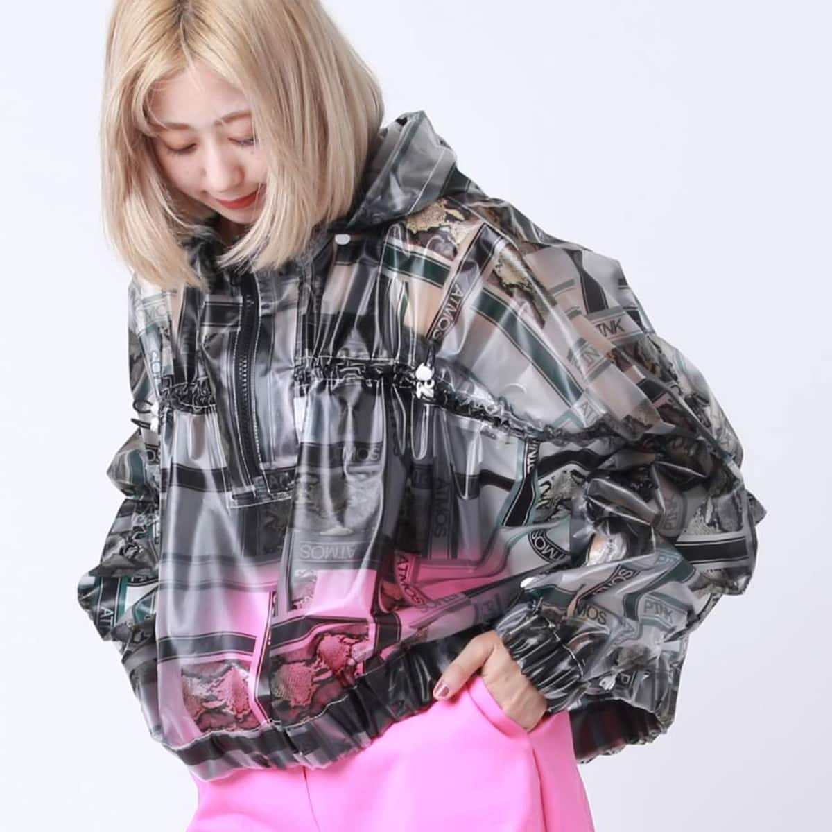 atmos pink ロゴ ジオメトリック フィルム ジャケット BLACKxGREEN 19FW-I_photo_large