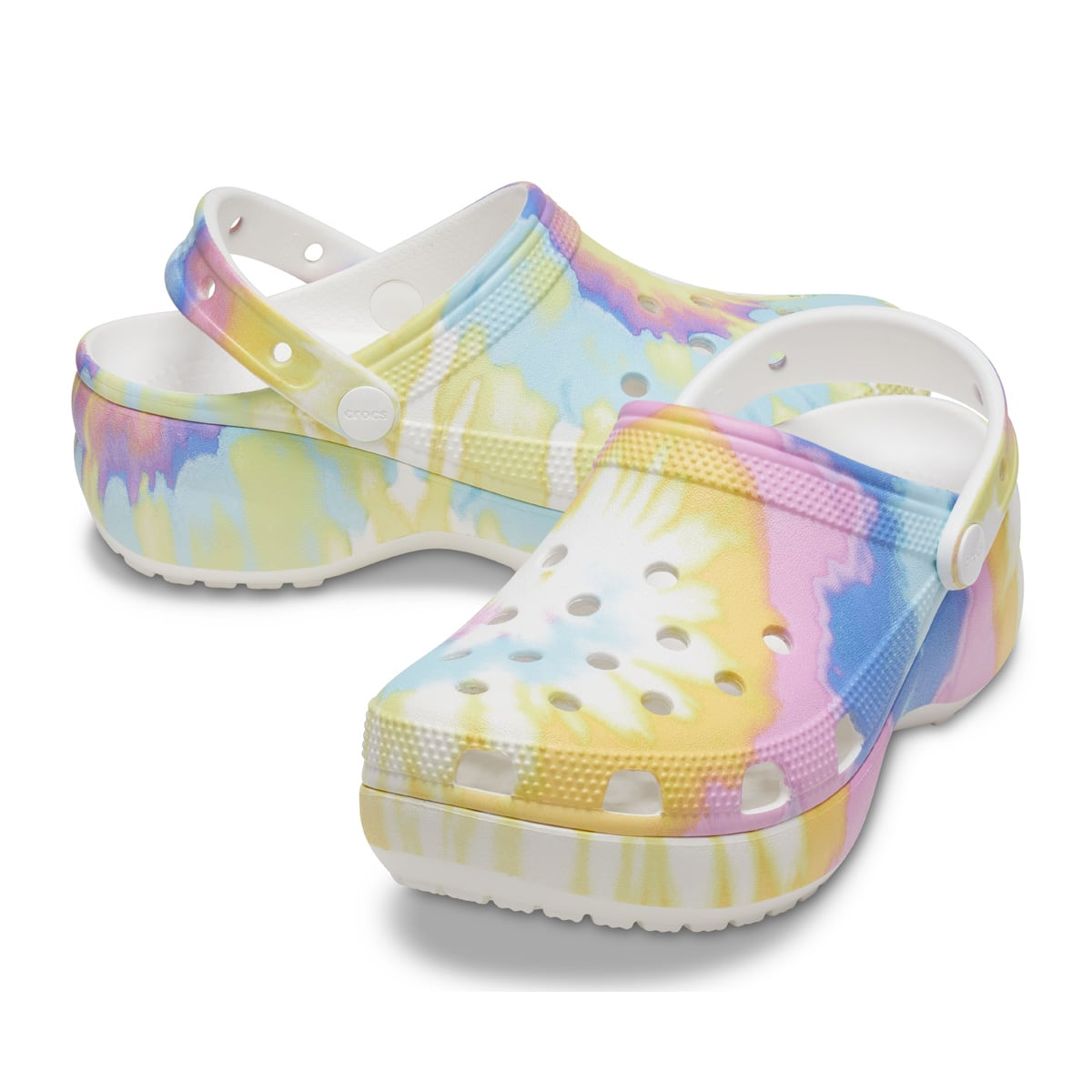 crocs Classic Platform Tie-Dye Graphic Clog W White/Multi 21SS-I_photo_large