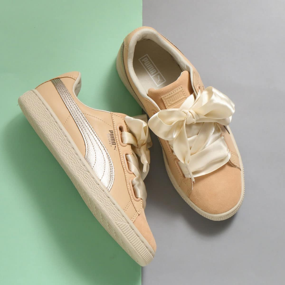 another chance f6223 97dbc PUMA BASKET HEART UP WNS 01NATURAL VACHE
