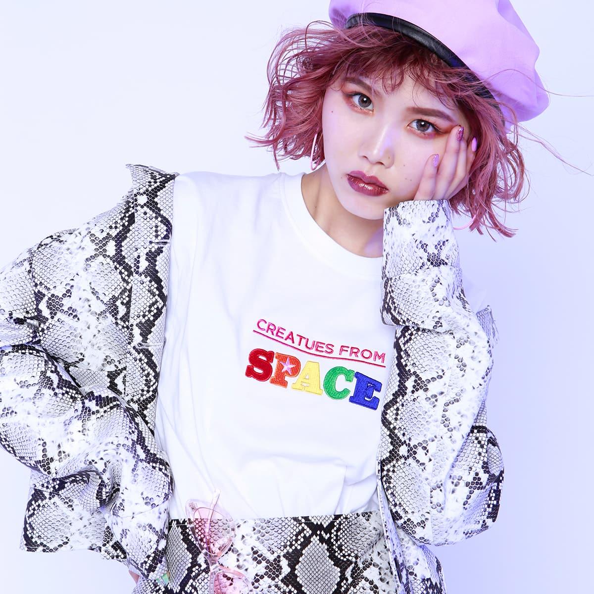 atmos pink × ayayan 刺繍 ワイドTシャツ WHITE 19SP-S_photo_large