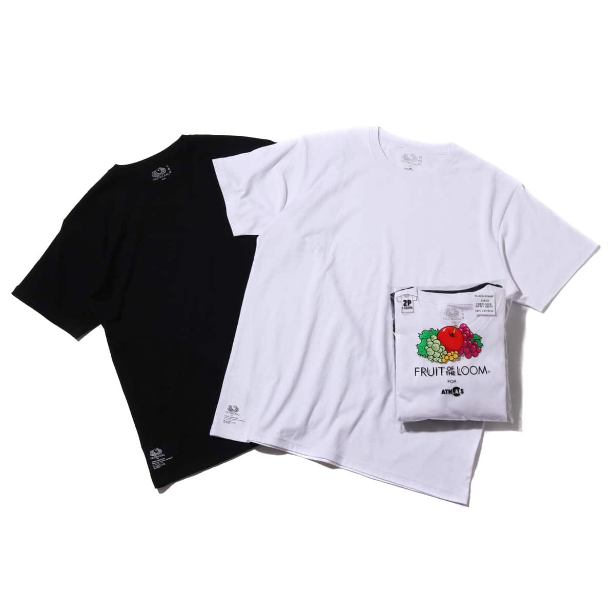 FRUIT OF THE LOOM x ATMOS LAB CREW NECK PACK TEE  BK / WHT 18SS-I_photo_large