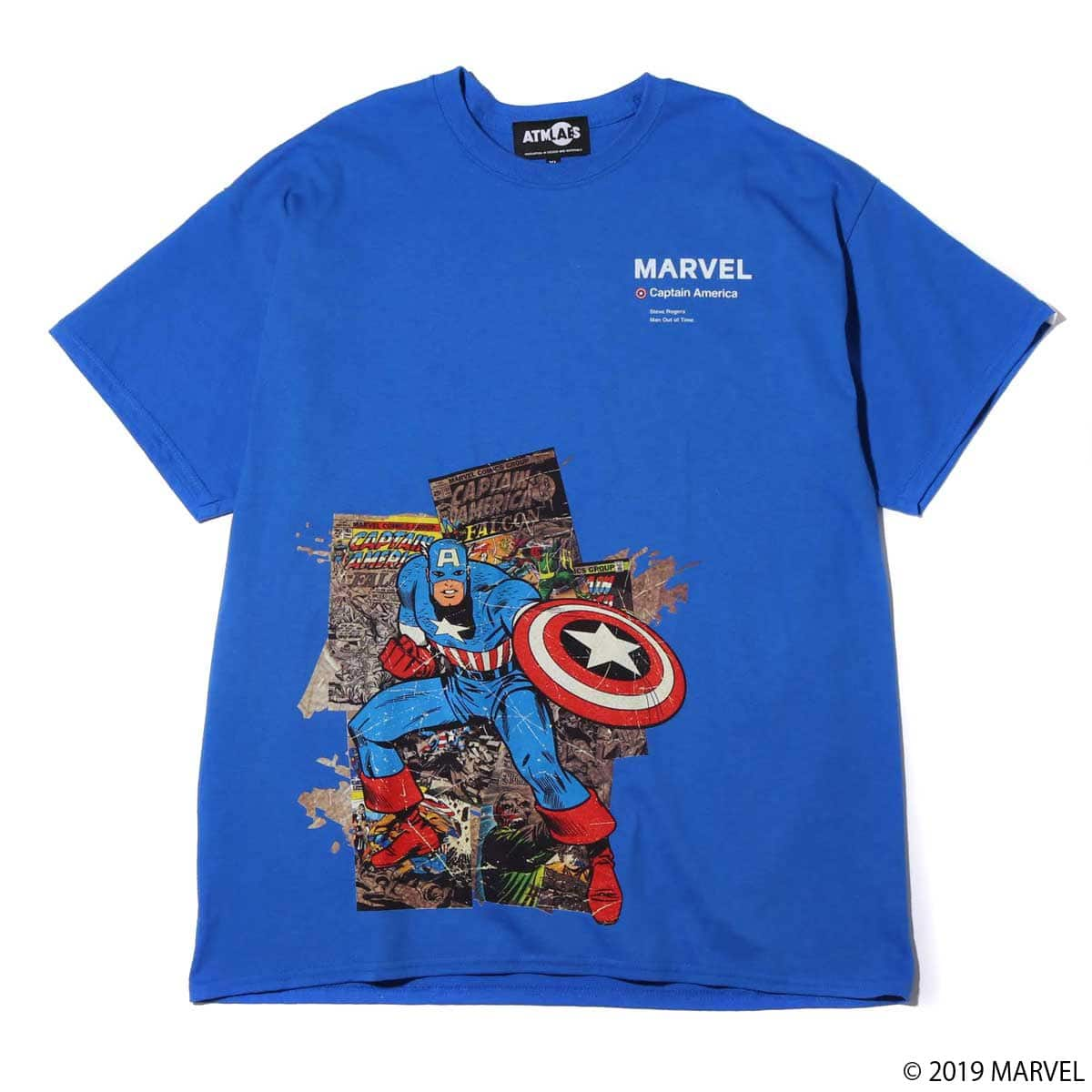 MARVEL x ATMOS LAB TEE CAPTAIN AMERICA BLUE 19SP-S_photo_large