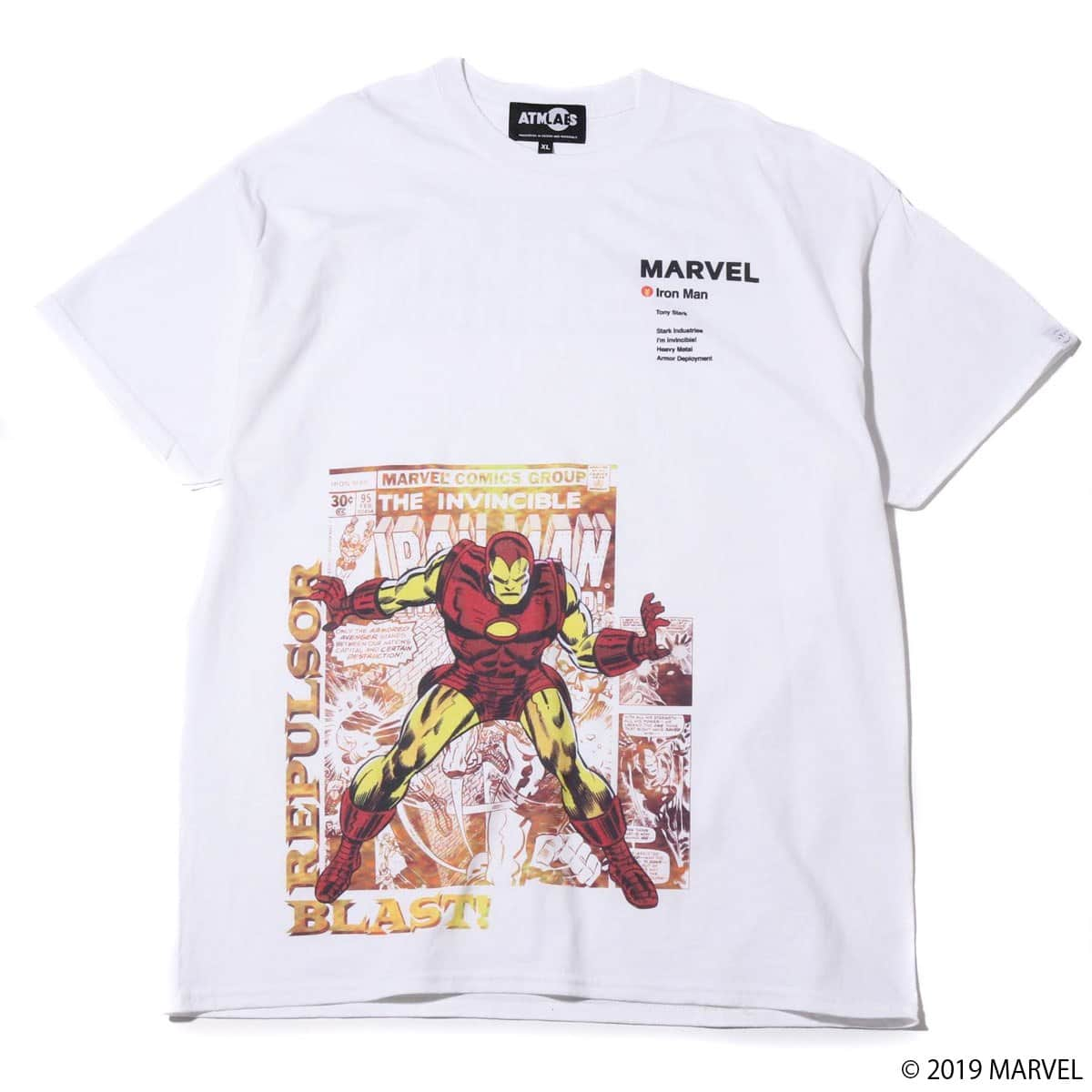 MARVEL x ATMOS LAB TEE IRON MAN WHITE 19SP-S_photo_large
