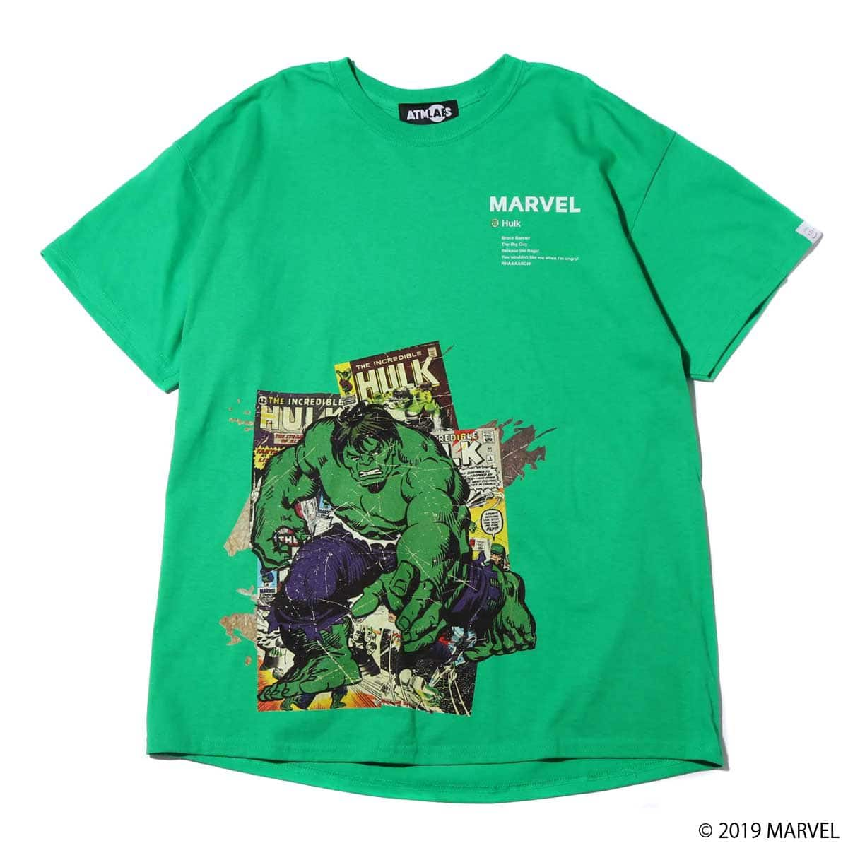 MARVEL x ATMOS LAB TEE HULK GREEN 19SP-S_photo_large