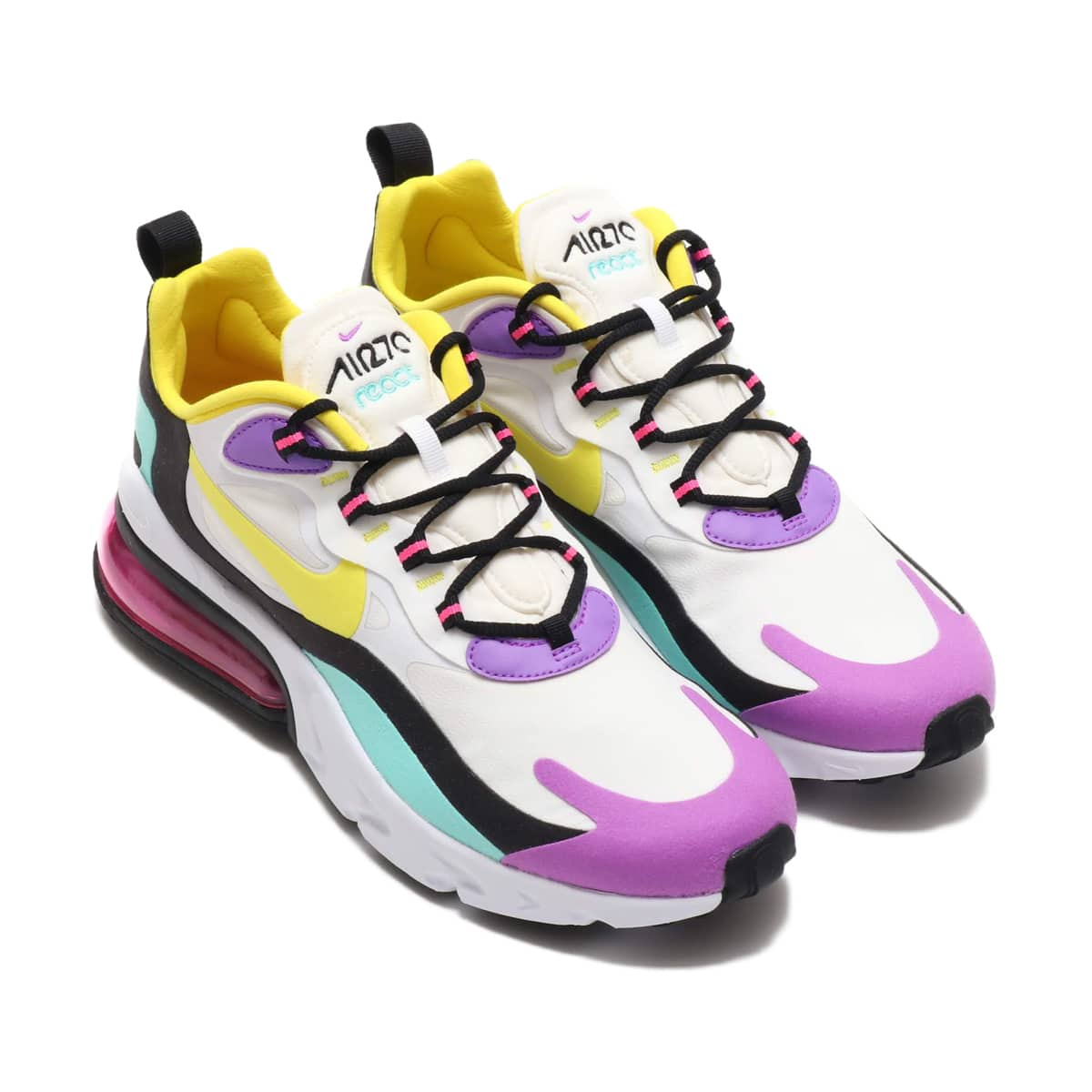 NIKE AIR MAX 270 REACT WHITE/DYNAMIC YELLOW-BLACK-BRIGHT VIOLET 19FA-S_photo_large