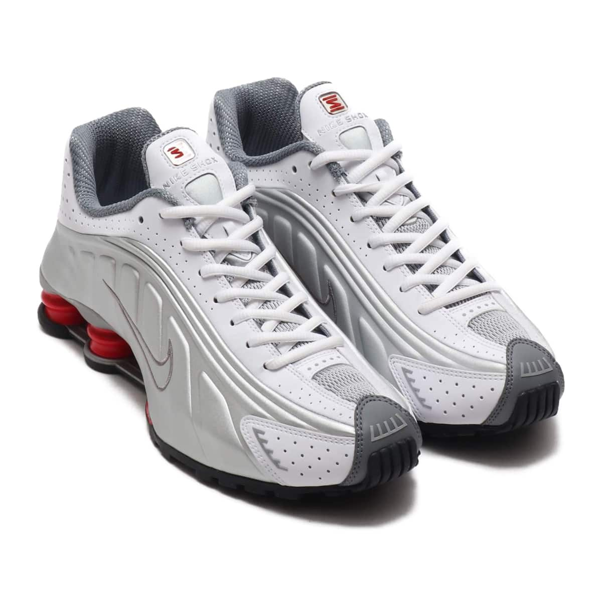 best service 72e1f 8615c NIKE SHOX R4 WHITE/METALLIC SILVER-COMET RED-BLACK