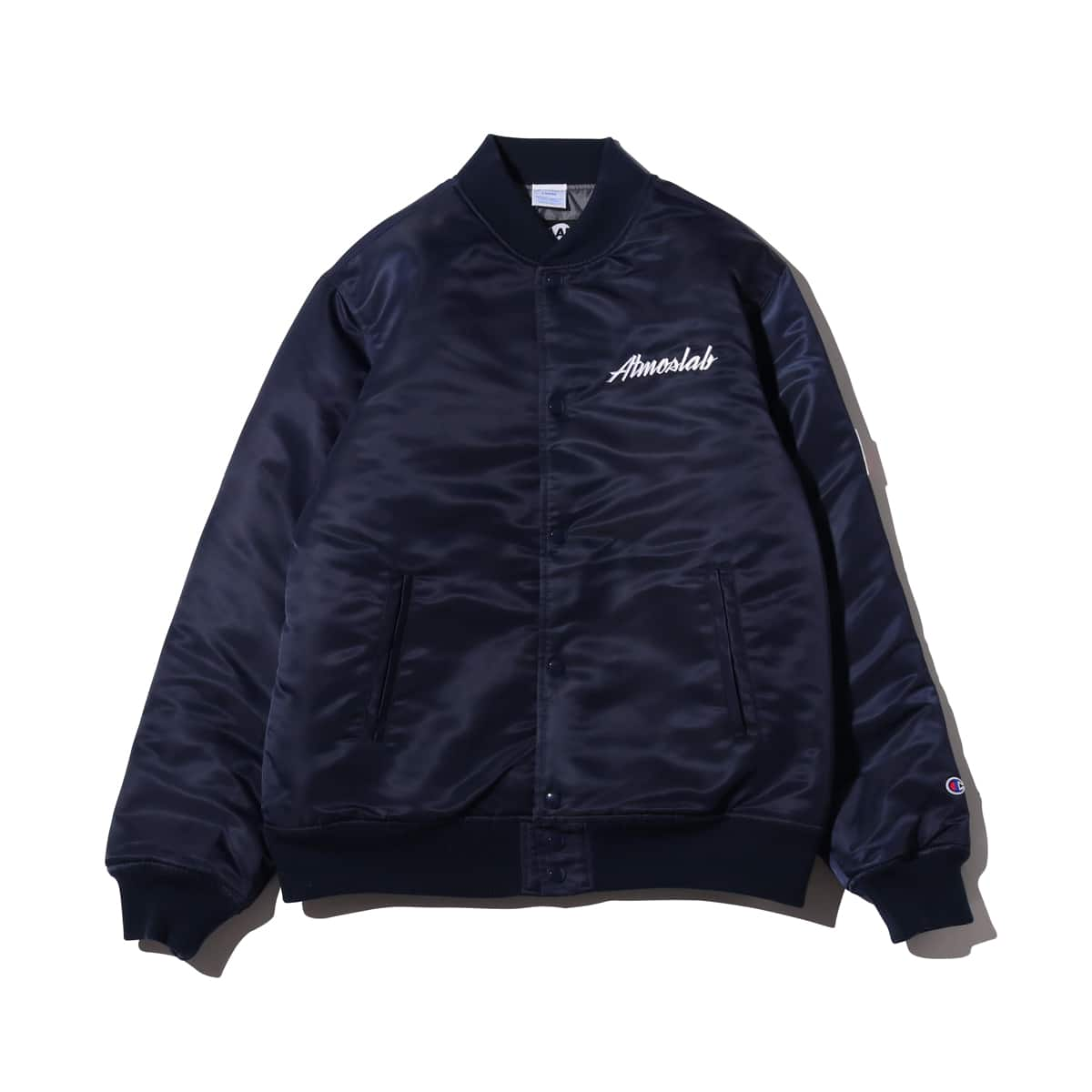 Champion × ATMOS LAB SATIN BASEBALL JACKET ネイビー 18FW-I_photo_large