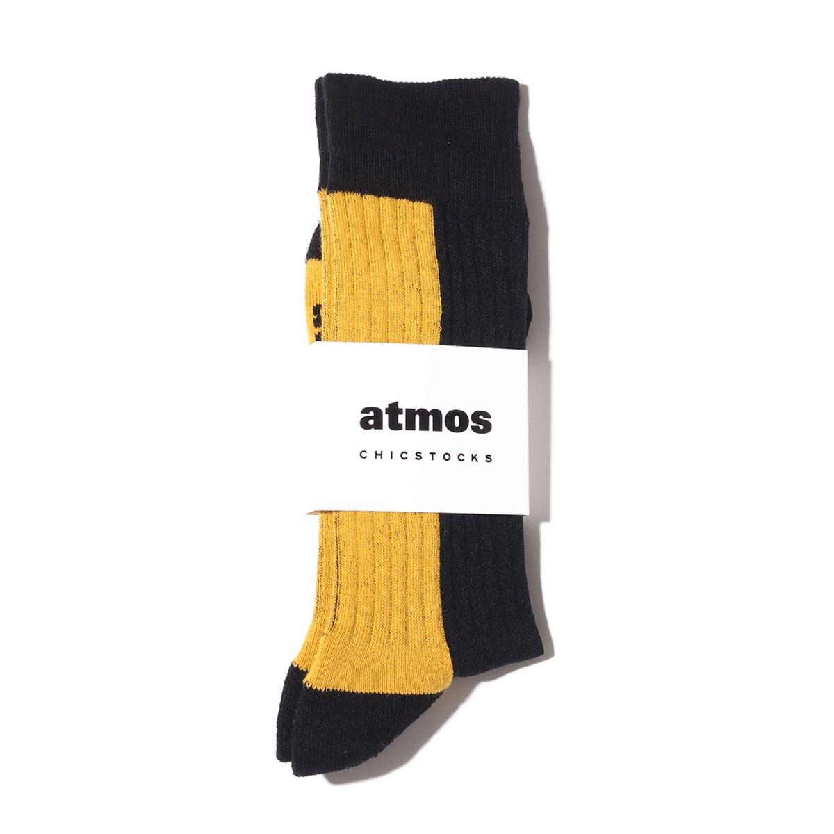 atmos x CHICSTOCKS 1985 RIB SOCKS BLACK / YELLOW 21SP-S_photo_large