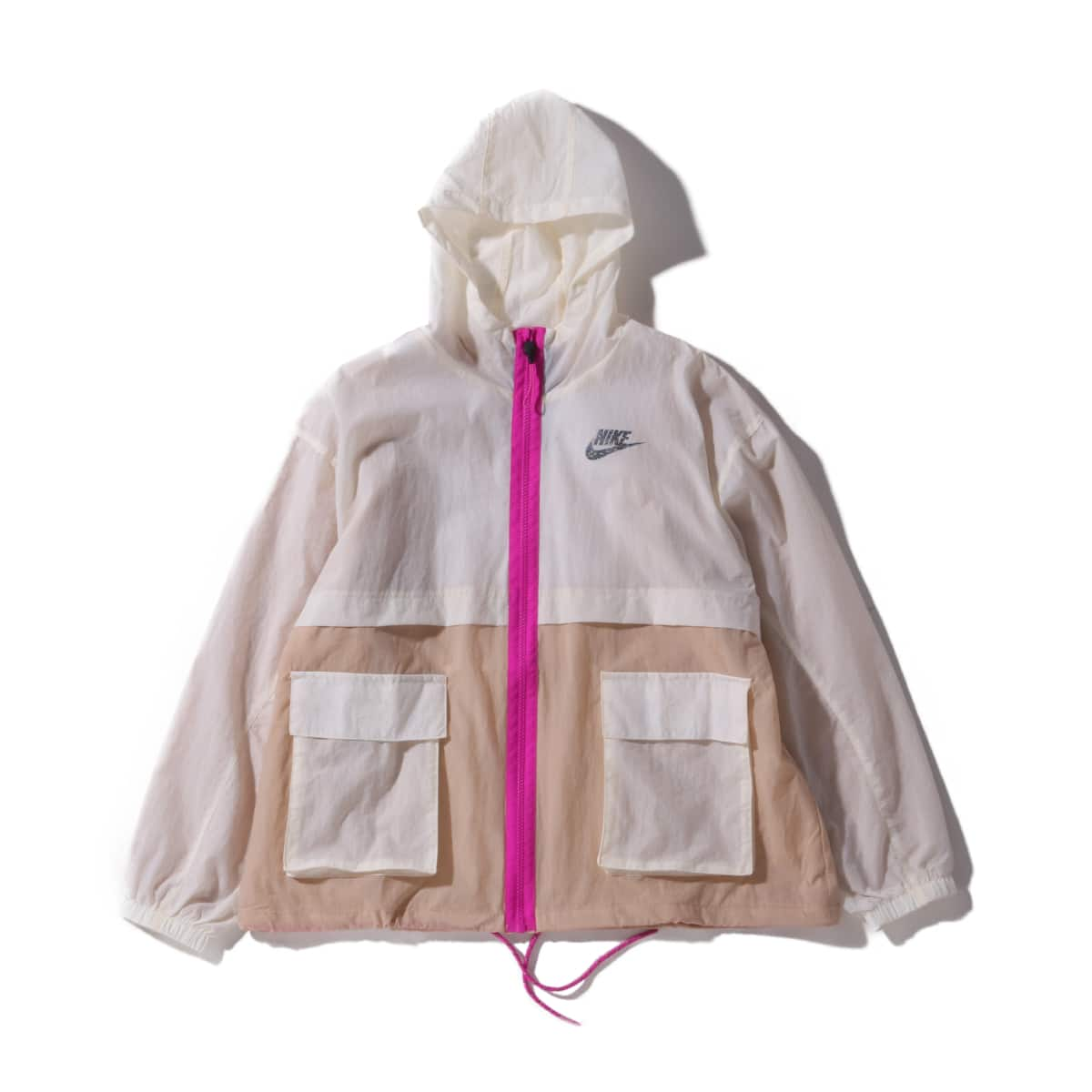 NIKE AS W NSW ICN CLSH JKT WVN PALE IVORY/SHIMMER/FIRE PINK 20SU-I_photo_large