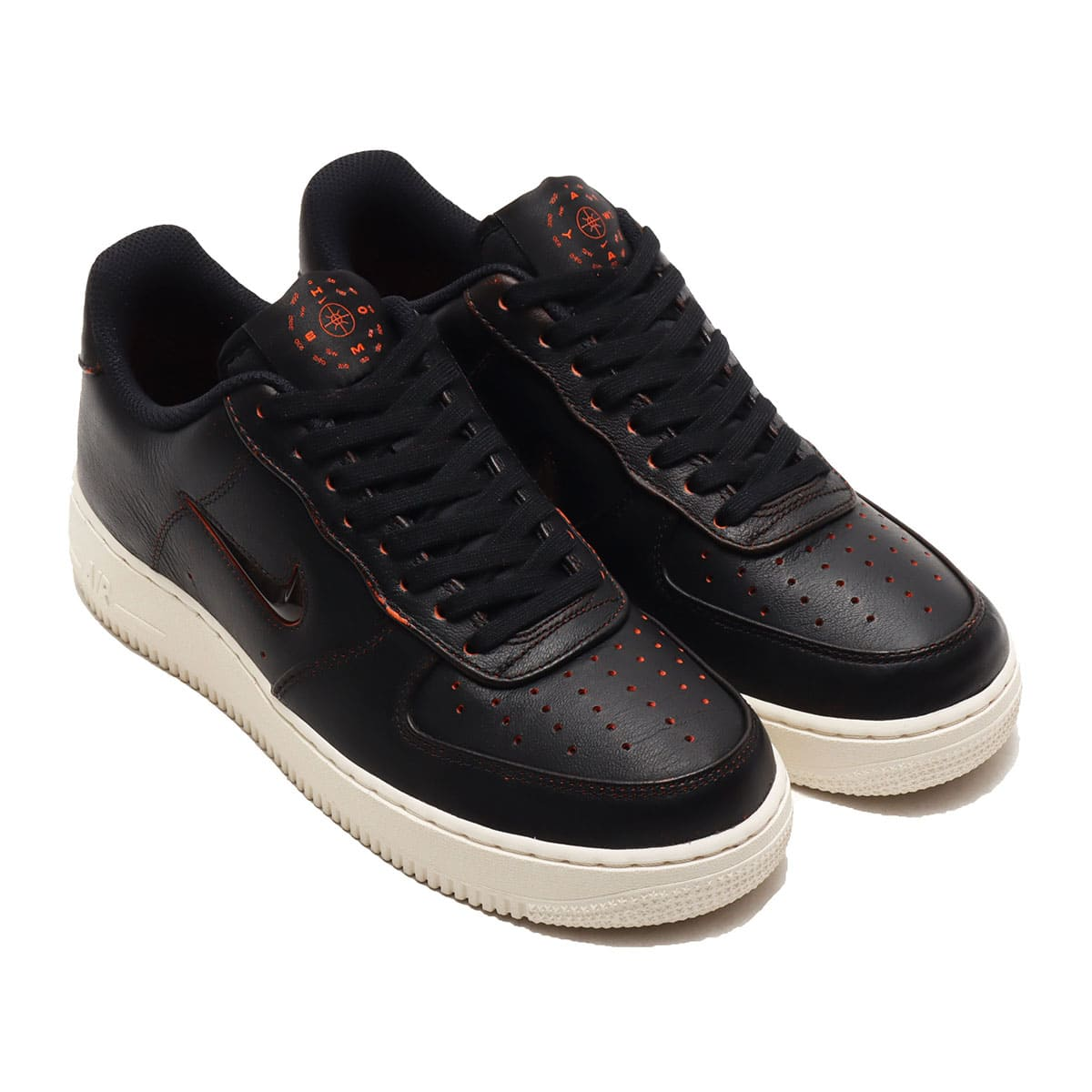 NIKE AIR FORCE 1 '07 PRM BLACK/BLACK-SAFETY ORANGE-SAIL 20SU-S_photo_large