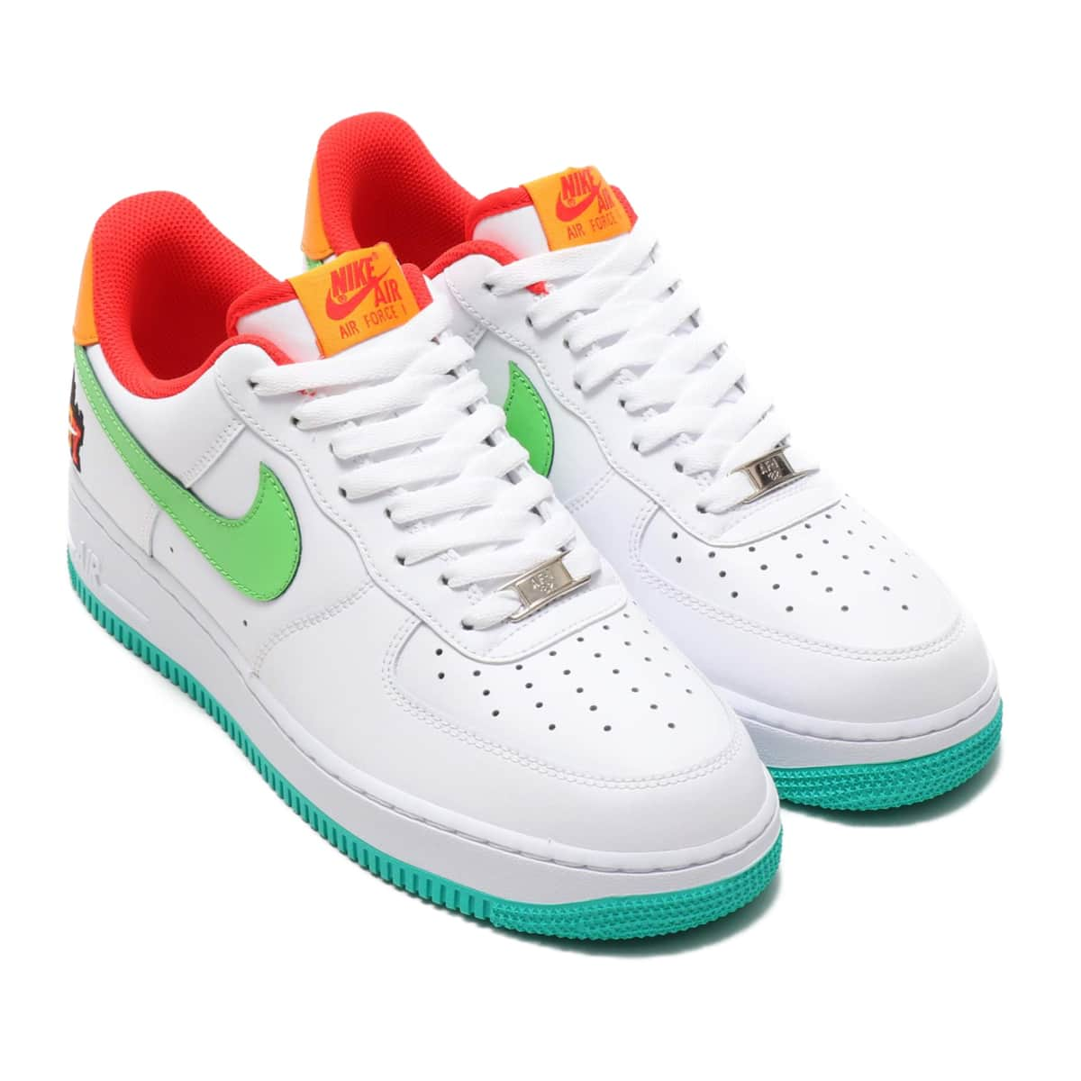NIKE AIR FORCE 1 '07 LE WHITE/GREEN NEBULA-HABANERO RED-KUMQUAT 19HO-S_photo_large