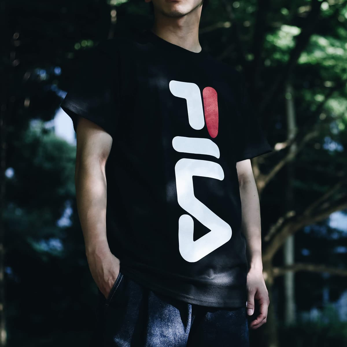 FILA x atmos BIG LOGO T-Shirt  BLACK_photo_large