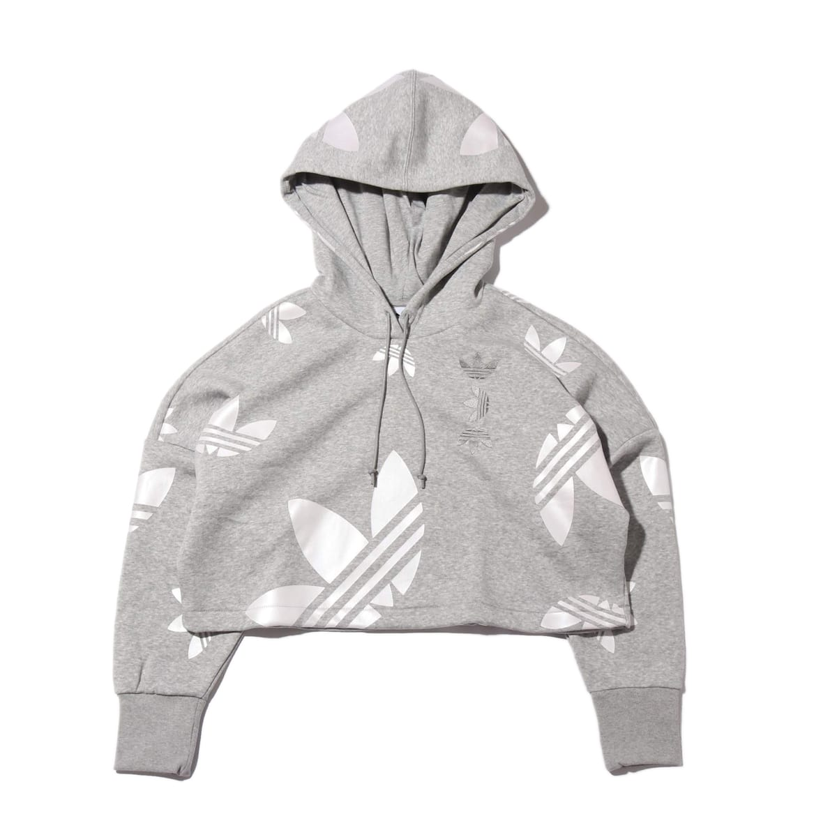 adidas LRG LOGO CROP HOODIE WOMEN MEDIUM GRAY FEATHER/WHITE 20SS-I_photo_large