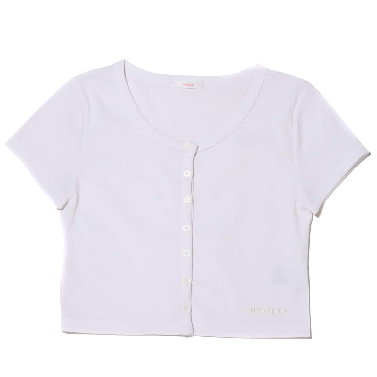 atmos pink ロゴ刺繍 ミニマル リブカーデ WHITE 21SP-I_photo_large