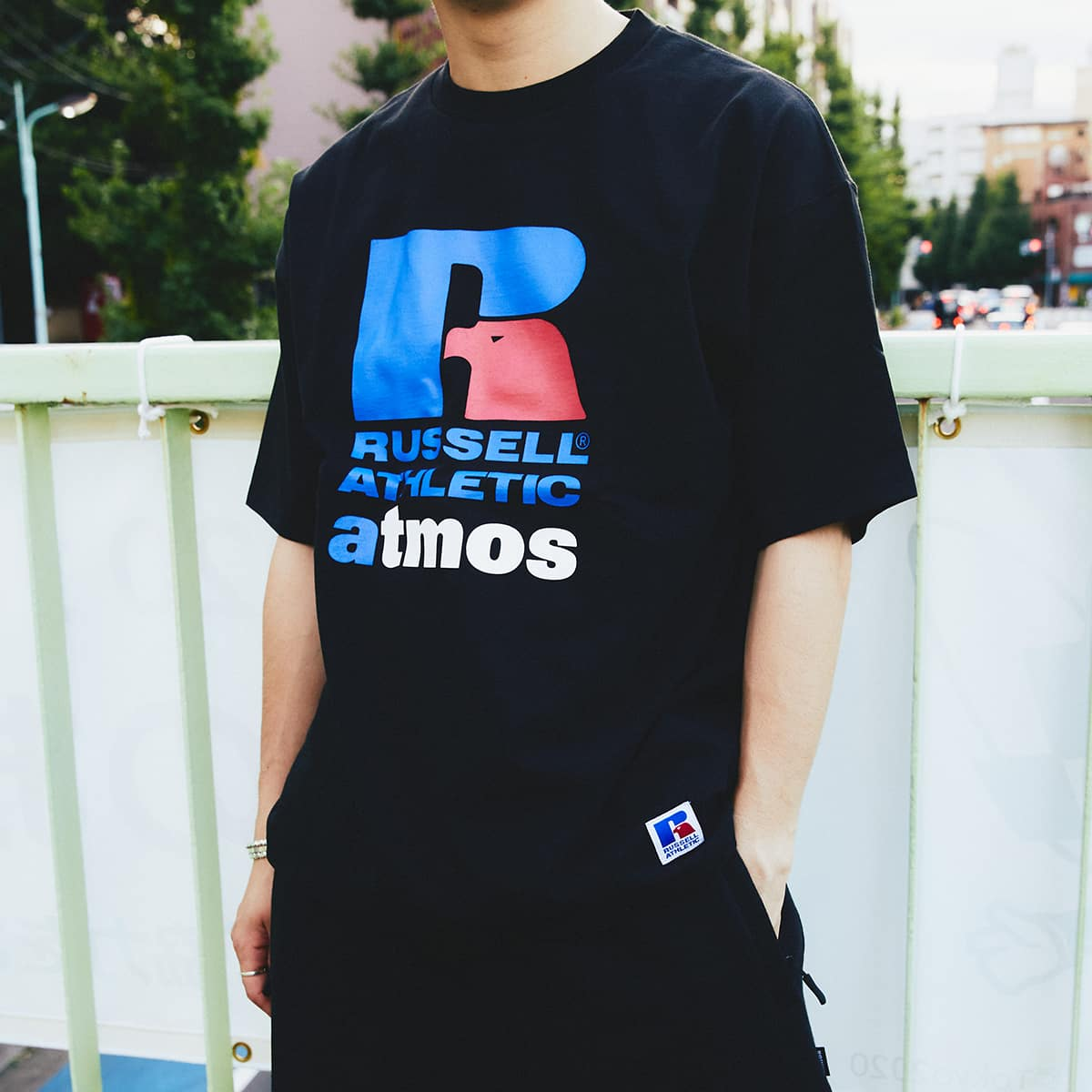 atmos x RUSSELL ATHLETIC LOGO TEE BLACK 21SP-I_photo_large