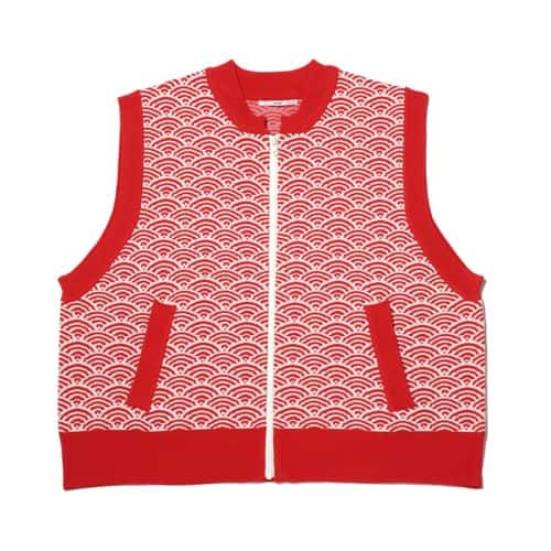"""""""atmos pink 総柄 ビックニット ベスト RED×WHITE 20SP-I"""""""
