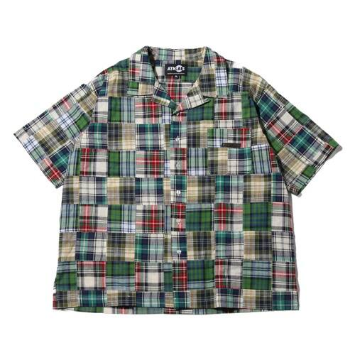 """ATMOS LAB PATCHWORK OPEN COLLAR SHIRT GREEN 19SP-I"""