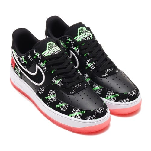 NIKE AIR FORCE 1 '07 LV8 WW BLACK/BLACK-GREEN STRIKE-FLASH CRIMSON 20FA-I