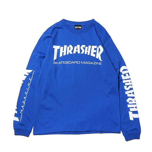 """THRASHER MAG SLEEVE L/S TEE ROYAL/WHITE 19SS-I"""